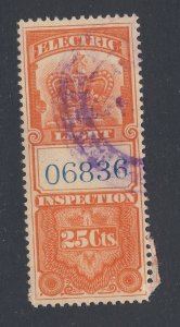 Canada Revenue Electric Light Stamp; #FE1-25c F/VF Used  Guide Value = $35.00