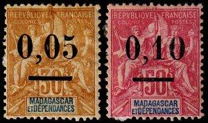 Madagascar - Malagasy Republic Scott 52-53 (1902) Mint H F, CV $21.00 C