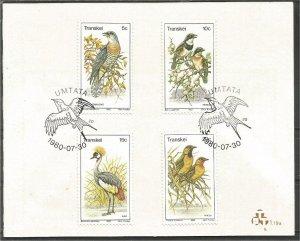 TRANSKEI, 1980, CTO floder,,Birds Scott 79-82