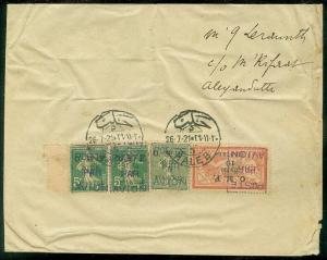 SYRIA : 1920 Air Mail cover to Alexandretta with receiving cancel on reverse.