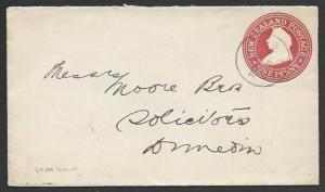 NEW ZEALAND 1902 QV 1d envelope used WAIHOLA cds to Dunedin................59400