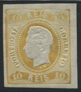 Portugal 1866 10 reis yellow with 4 large to huge margins mint o.g.