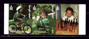 Mongolia 2495 MNH 2001 Children and Sports strip of 3