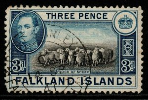 FALKLAND ISLANDS SG153a 1941 3d BLACK & DEEP BLUE FINE USED