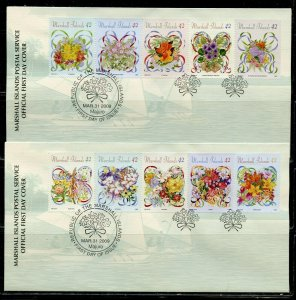 MARSHALL ISLANDS 2009 BOUQUETS SET ON FIVE FIRST DAY COVERS