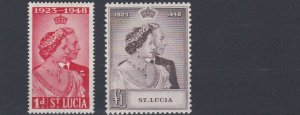 ST LUCIA  1948 - 49  ROYAL SILVER WEDDING  MH