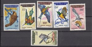 J28388, 1967 congo peoples republic short set mnh #c45-50 birds