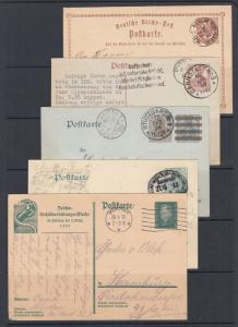 Germany Mi P1/P187 used. 1873-1928 Postal  Cards, 5 diff, nice cancels, sound