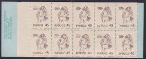 Sweden # 833a, H. Soderberg - Writer, Complete Booklet, NH, 1/2 Cat.