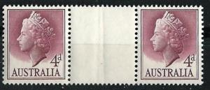 Australia # 294  Elizabeth II  4d   GUTTER PAIR   (1) Mint NH