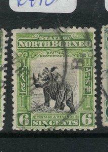 North Borneo SC 6c Rhino See Cancel Item Two VFU (10dxn)