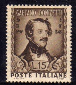ITALIA REPUBBLICA ITALY REPUBLIC 1948 DONIZETTI MNH BEN CENTRATO