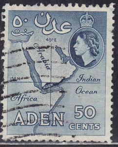 Aden 53b USED 1955 Map of Aden
