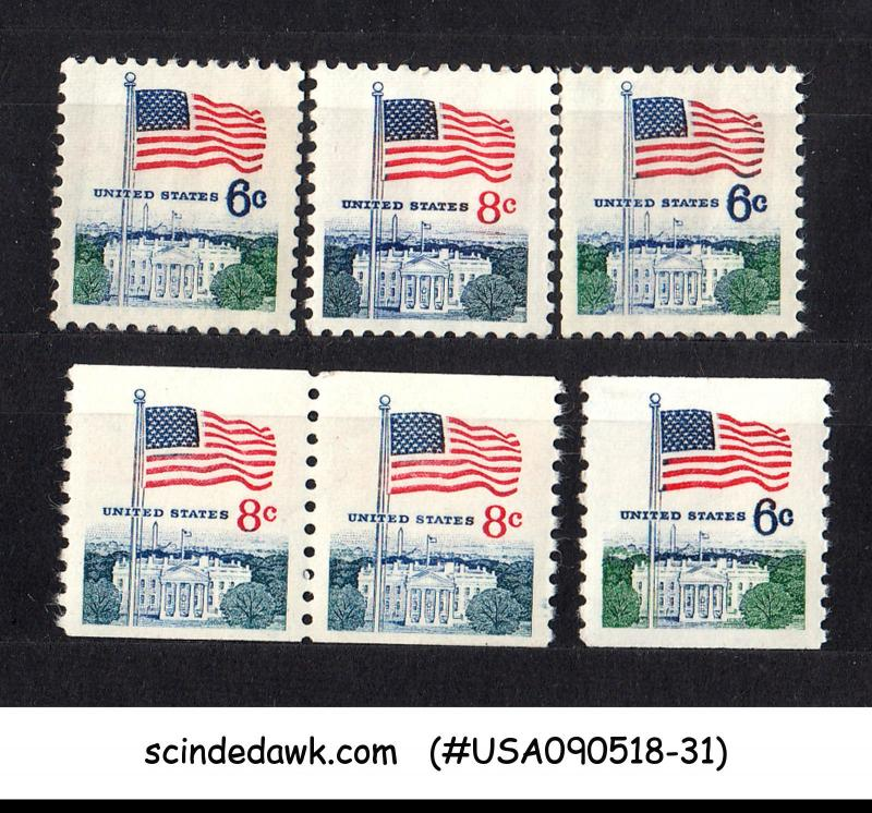 UNITED STATES USA - 1968-71 REGULAR ISSUE STAMPS / FLAG - 6V - MNH