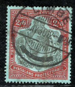 NYASALAND KGV Stamp 2s/6d High Value Limbe 1930 CDS Used LBLUE23