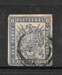 TRANSVAAL  1870  6d   ARMS   FU   SG 9