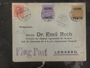 1918 Vienna Austria to Lemberg Poland Airmail Cover # C1-C3 Judaica Dr Emil Roth