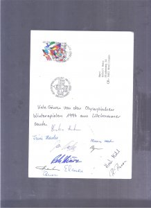 NORWAY SPORT SKY 1994 WINTER OLYMPIC GAMES SPEC CARD W SIGNATURES