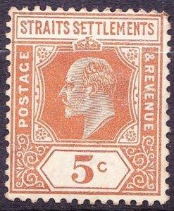 MALAYA STRAITS SETTLEMENTS 1909 KEDVII 5c Orange SG157 MH