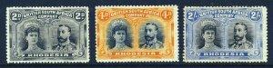 RHODESIA KG V 1910-13 Double Head Perf.14 Group SG 130, SG 140 & SG 153 MINT