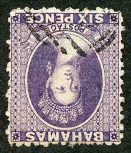 Bahamas SG31 6d Deep Violet Wmk CC INVERTED Perf 12.5 Fine used
