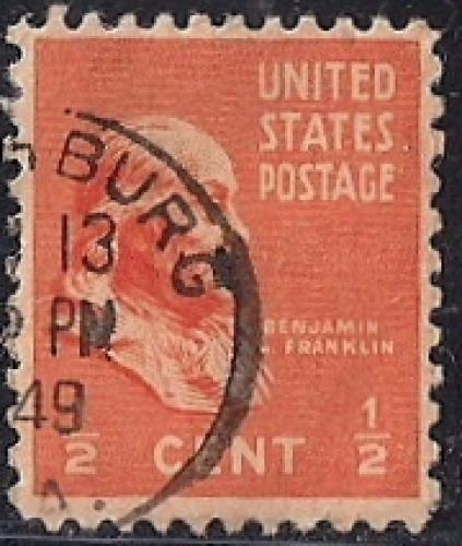 803 1 2 Cent SUPER CANCEL Benjamin Franklin Stamp Used F