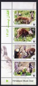 Afghanistan WWF Himalayan Musk Deer Strip with Name in English