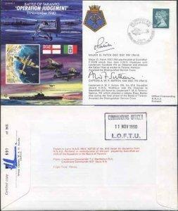 JS40/7a 11/11/90 Battle of Taranto Signed Major O. Patch Cpt A.W.F Sutton (A)