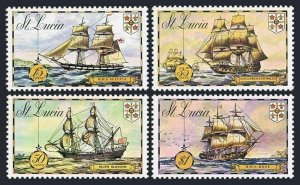St Lucia 337-340,340a,MNH.Michel 329-332,Bl.2. Old Sailing ships,1973.MS Rose,