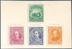 COSTA RICA (4) DIFF. ABNCo. XF-SUPERB PLATE PROOFS ON INDIA (EX-GREEN) HV5278