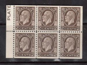 Canada #196abi VF/NH Booklet Pane With Plate Inscription