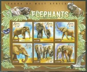 SIERRA LEONE 2015 FAUNA OF WEST AFRICA ELEPHANT  SHEET MINT NH