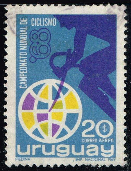 Uruguay #C347 Bicyclist and Globe; Used (0.25)
