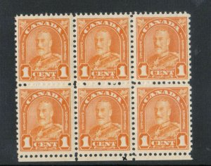 Canada #162i Very Fine Never Hinged Reentry Block Of Six