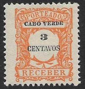 CAPE VERDE 1921 3c Orange Postage Due Sc J24 MH