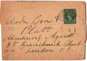 Saint Kitts Leeward Islands 1/2d QV Wrapper 1897 St. Kitts to London, England.