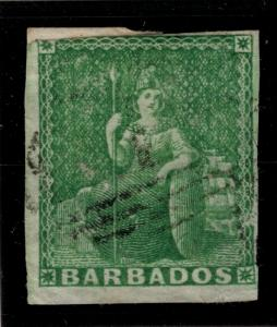 Barbados Stamp Scott #1, Used - Free U.S. Shipping, Free Worldwide Shipping O...