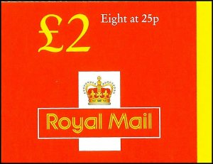 GB 1997 £2 Complete Red Cover Folded Booklet 8 X 25p SG FW9