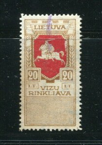 x247 - LITHUANIA 1920s Visa REVENUE Stamp. Top Value. Used
