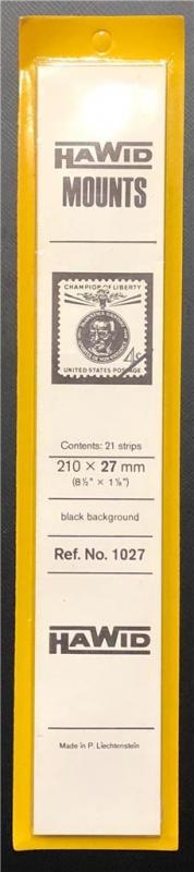 Stamp Mounts Supplies Hawid #1027 New 21 strips 27mm by 210mm Black background