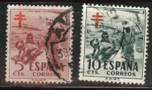 SPAIN Scott RA32-33, Used, 1950 Postal Tax TB Fund