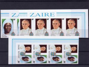 Zaire 1986 Sc#1226/1228 Pope John Paul II Set(3) Imperf.in Strip of 4 MNH