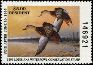 LOUISIANA #6 1994 STATE DUCK STAMP MOTTLED DUCK By Don Edwards