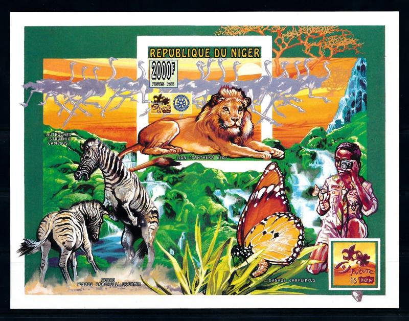[76543] Niger 1996 World Jamboree Scouting Butterfly Lion Imperf. Sheet MNH