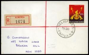 PAPUA NEW GUINEA 1969 Registered cover RELIEF cancel used at KOKODA........91334