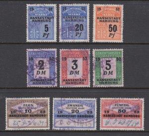 Germany, Hamburg, 1952 Court Fee revenues, 9 different, used, sound, F-VF.