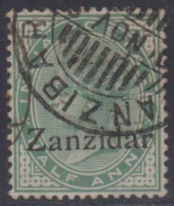 BC ZANZIBAR 1895-96 Sc 3a VARIETY ZANZIDAR USED F,VF & RARE! SCV$800.00