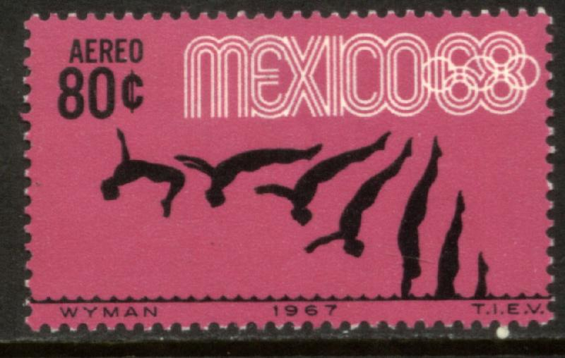 MEXICO C328, 80¢ Diving 3rd Pre-Olympic Set 1967. MINT, NH. VF.