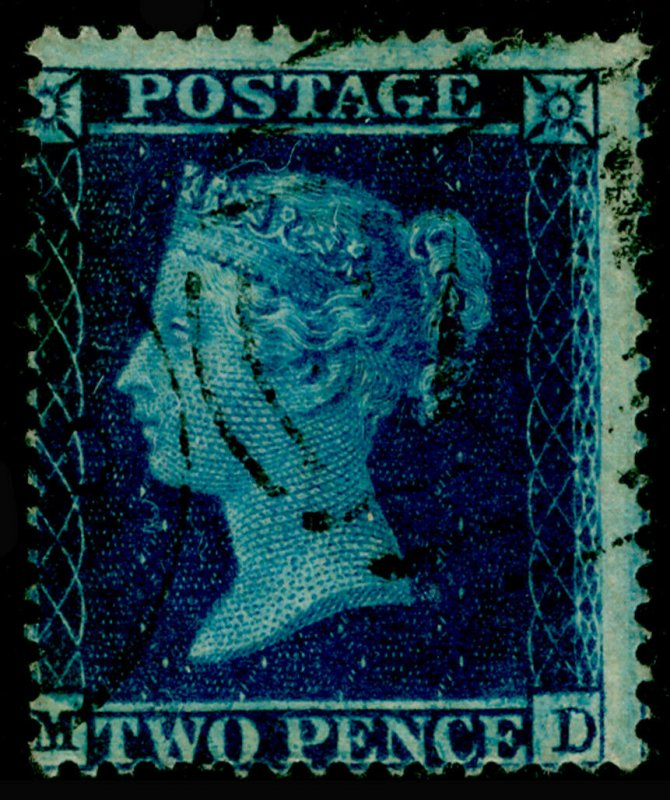 SG36a, 2d blue plate 6, LC16, USED. Cat £375. MD