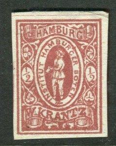 GERMANY; HAMBURG LOCAL Privat Post 1870-80s KRANTZ issue Mint issue